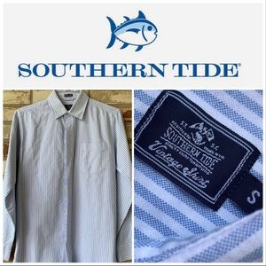 Small Southern Tide Vintage Blue-White LS Shirt